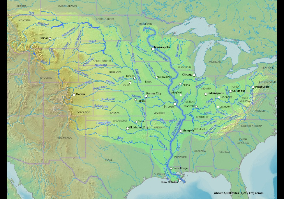 a description of the mississippi river The mississippi river has the third largest drainage basin in the world, exceeded  in size only by the watersheds of the amazon and congo rivers it drains 41.